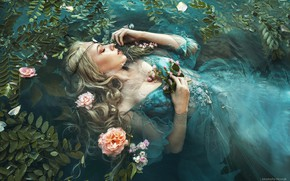 Picture leaves, water, girl, flowers, pose, mood, sleep, the situation, hands, dress, closed eyes, sleeping, Marketa …
