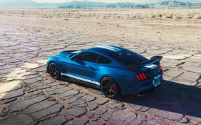 Picture road, machine, the sky, strips, blue, hills, Ford, lights, sports, spoiler, drives, Ford Mustang Shelby …