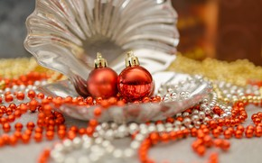 Picture balls, holiday, Shine, sink, shell, Christmas, New year, beads, silver, orange, bokeh, Christmas decorations, Christmas …