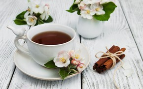 Picture flowers, tea, Cup, vases, Olena Rudo
