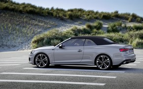 Picture grey, Audi, convertible, Audi A5, side view, top, A5, 2019, A5 Cabriolet