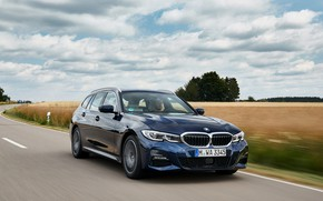 Picture BMW, 3-series, universal, on the track, dark blue, 3P, 2020, G21, 330d xDrive Touring