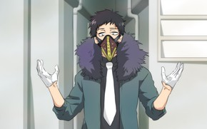 Picture mask, gloves, guy, Boku No Hero Academy, My Hero Academy, Chisaki Kai