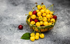 Picture berries, background, bowl, red, cherry, yellow