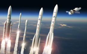 Picture space, missiles, Vega, Ariane 5, Ariane 64, Space Rider, Vega-C, Ariane 62