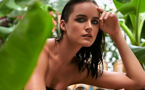 Picture girl, eyes, smile, model, beauty, lips, face, hair, pose, makeup, wet hair