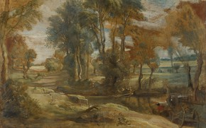 Picture landscape, picture, Peter Paul Rubens, Peter Paul Rubens, A Wagon fording a Stream