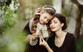 Picture nature, sprig, woman, spring, girl, flowering, mom, child, mother