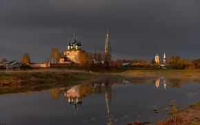 Picture landscape, clouds, nature, reflection, river, temple, the bell tower, Dunilovo, Gordeev Edward, Eduard Gordeev, Ed …
