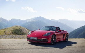 Picture road, auto, the sky, the sun, mountains, Porsche, convertible, Boxster