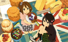 Picture berries, sweets, takes, friend, eclairs, K-on!, Azusa Nakano, Yui Hirasawa, British flag, coxy, look up, …