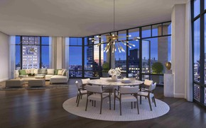 Picture interior, megapolis, NYC, living room, dining room