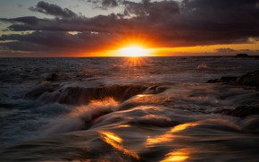 Picture sea, wave, the sun, rays, sunset, clouds, the evening, horizon