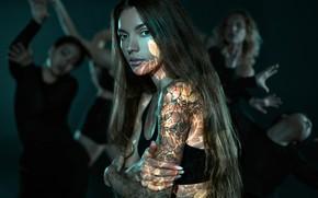 Picture look, girls, dancing, tattoo, Sasha Tattoing