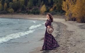 Picture beach, girl, smile, shore, hat, dress, Valeria Tikhonovna