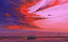Picture car, road, sky, desert, landscape, nature, art, clouds, sunrise, artist, digital art, artwork, cactus, BisBiswas, …