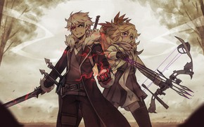 Picture girl, lightning, crossbow, guy, Zhao-P, by Zhao-P