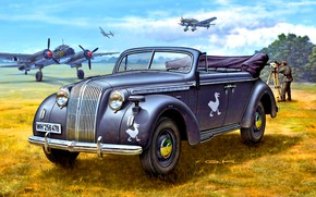 Picture Germany, bomber, Ju-87, Cabriolet, The Third Reich, Ju-88, Opel Admiral