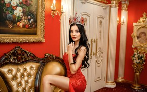 Picture look, model, portrait, interior, crown, makeup, figure, dress, brunette, hairstyle, in red, posing, sexy, Vlada, …