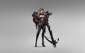 Picture Girl, Fantasy, Art, Style, Warrior, Arrow, Minimalism, Crossbow, Chen Wang