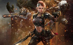 Picture Girl, Soldiers, Sparks, Weapons, Art, Art, Fiction, Concept Art, Equipment, Game Art, by GGAC SHANGHAI, …