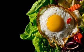 Picture egg, food, Breakfast, black background, scrambled eggs, the yolk, vegetables, dish, protein, fried, lettuce