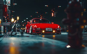 Picture Red, Auto, Night, Machine, Mazda, Mazda RX-7, RX7, Khyzyl Saleem, by Khyzyl Saleem, Transport & …