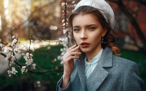 Picture look, girl, tree, hair, hairstyle, coat, takes, Max Kuzin
