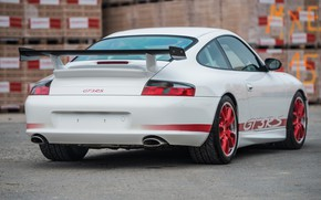 Picture White, Carbon, Back, Spoiler, Porsche 996 GT3 RS, Red stripes