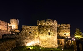 Picture grass, trees, night, bridge, lights, wall, backlight, lights, tower, fortress, Serbia, Belgrade, Belgrade Fortress