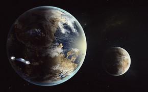 Picture Stars, The game, Planet, Space, Fantasy, Blizzard, Art, Spaceship, Satellite, fan art, Illustration, Concept Art, …