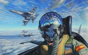 Picture the sky, cabin, pilot, painting, pilot, aircraft