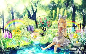Picture Flowers, Lake, Rainbow, Girl, Animals, Art