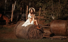 Picture the sun, sexy, pose, model, the fence, portrait, hat, boots, makeup, dress, horse, hairstyle, brown …