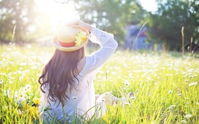 Picture summer, girl, flowers, glade, hat, the sun