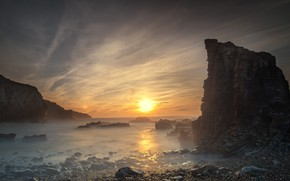 Picture sea, the sun, clouds, sunset, nature, fog, pebbles, stones, rocks, dawn, shore, the evening, morning, ...