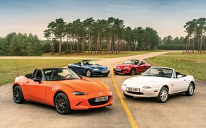 Picture Mazda, MX-5, on the road, roadsters, four generations (NA-NB-NC-ND)