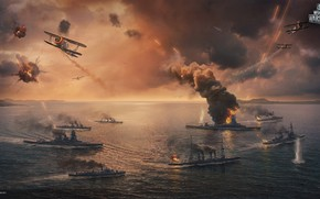 Picture The ocean, Sea, The plane, Smoke, Aircraft, Fire, Ship, Battle, Aviation, Ocean, Battleship, Sea, Attack, …