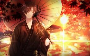 Picture sunset, umbrella, guy, Touken Ranbu, Dance Of Swords