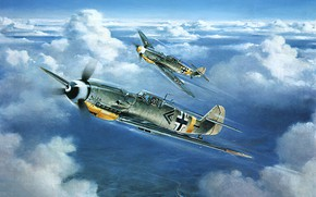 Picture art, airplane, aviation, bf-109, ww2, messerschmitt