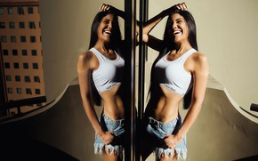 Picture girl, hot, smile, model, pose, mirror reflection