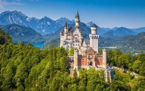 Picture trees, mountains, castle, Germany, Neuschwanstein, Germany