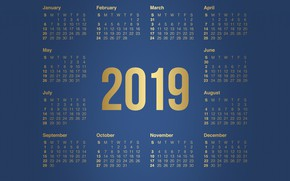 Picture Minimalism, Background, Background, Calendar, A month, Minimalism, 2019, The year is 2019, Calendar 2019, Months