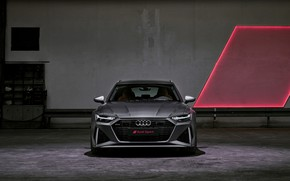 Picture Audi, front view, universal, RS 6, 2020, 2019, dark gray, V8 Twin-Turbo, RS6 Avant