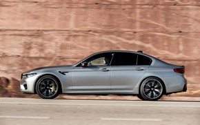 Picture rock, grey, BMW, profile, sedan, side view, 4x4, 2018, four-door, M5, V8, F90, M5 Competition