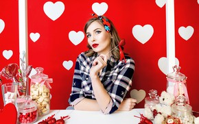 Picture look, girl, heart, candy, Valentine's day
