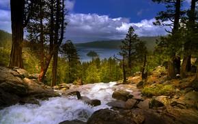 Picture trees, landscape, mountains, nature, lake, stones, waterfall, USA, forest, Tahoe, Lake Tahoe, Eagle Falls