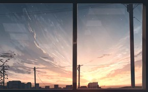 Picture the sky, sunset, the city, the view from the window