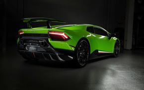 Picture lights, Lamborghini, supercar, rear view, Performante, Huracan