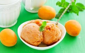 Picture balls, ice cream, mint, apricots